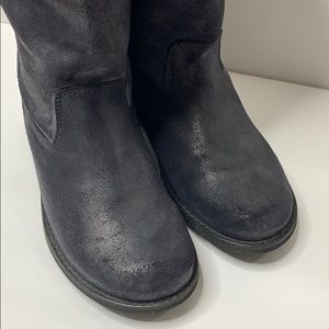 Kickers Tall Black Leather Boots Pull In Size 8